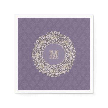 linda_mn Damask Purple Crochet Ecru Doily Paper Napkin