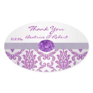 Damask purple, gemstone picture Thank You Sticker sticker