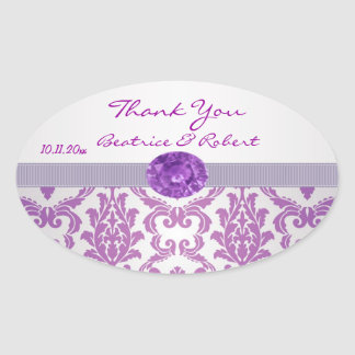 Damask purple, gemstone picture Thank You Sticker