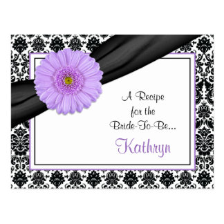 Damask Purple Gerber Recipe Card for the Bride