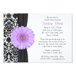 Damask Purple Gerbera Daisy Recipe Bridal Shower 5x7 Paper Invitation Card