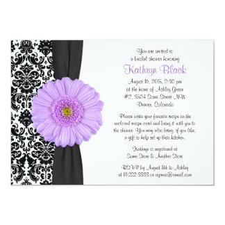 Damask Purple Gerbera Daisy Recipe Bridal Shower Invite