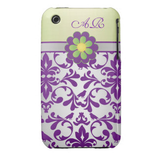 Damask purple, greey, lime Monogram Case-Mate Case iPhone 3 Cover