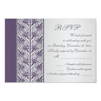 Damask purple on silver Wedding Anniversary RSVP Card