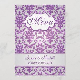 Damask purple on silver Wedding Menu