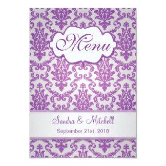 Damask purple on silver Wedding Menu Card
