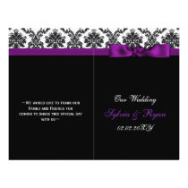 damask ,purple ribbon book fold Wedding program