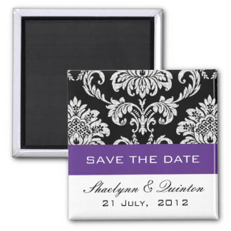Damask Purple Save the Date Wedding Announcement 2 Inch Square Magnet