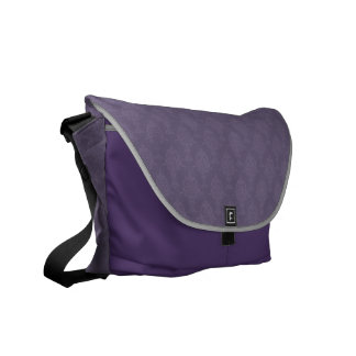 Damask Purple Tone on Tone Messenger Bag