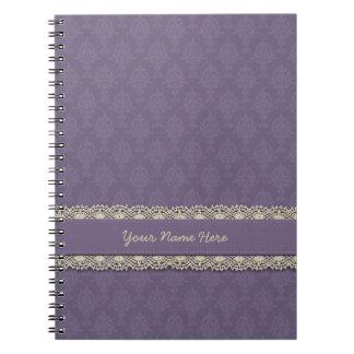 Damask Purple Tone on Tone Notebook
