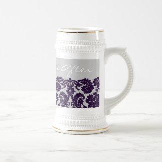 Damask Purple Wedding Beer Stein