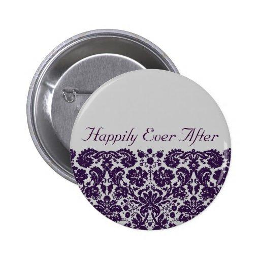 Damask Purple Wedding Button