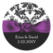damask purple wedding classic round sticker