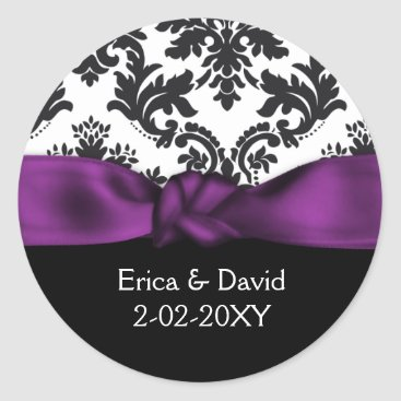 damask purple wedding classic round sticker