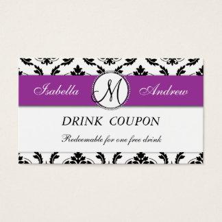 Damask Purple Wedding Free Drink Coupon Card