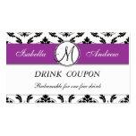 Damask Purple Wedding Free Drink Coupon Card Business Card