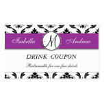 Damask Purple Wedding Free Drink Coupon Card Double-Sided Standard Business Cards (Pack Of 100)
