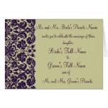 Damask Purple Wedding Invitation Greeting Cards