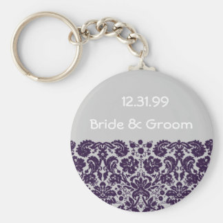 Damask Purple Wedding Keychain