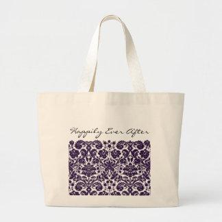 Damask Purple Wedding Large Tote Bag