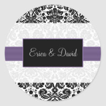 damask purple  Wedding Monogram stickers