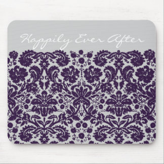 Damask Purple Wedding Mouse Pad