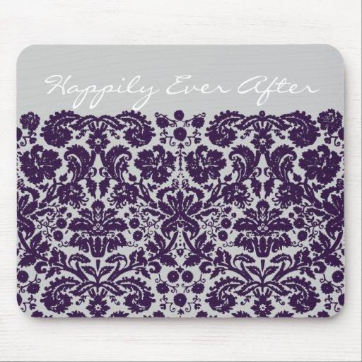 Damask Purple Wedding Mouse Pad