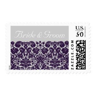 Damask Purple Wedding Postage