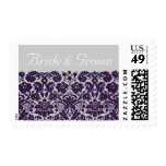 Damask Purple Wedding Postage Stamps