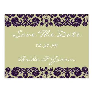 Damask Purple Wedding Postcard