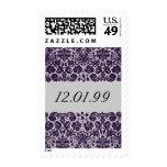 Damask Purple Wedding Stamps