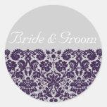 Damask Purple Wedding Stickers