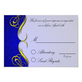 Damask Quarter Blue  Reply Card