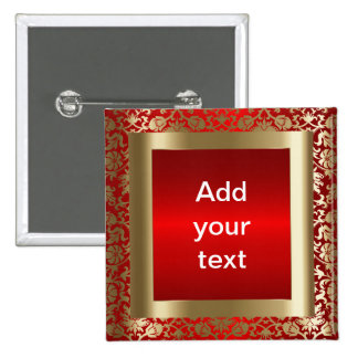 Damask Red and Gold | DIY Text Button