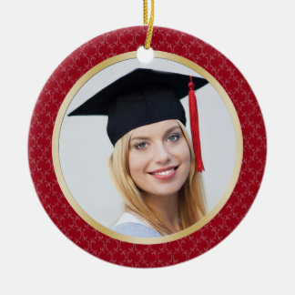Damask red and gold Graduation photo Ornament