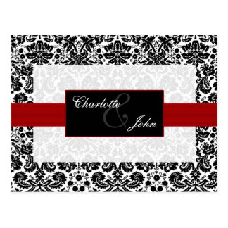 damask red,black and white  Save the Date Postcard