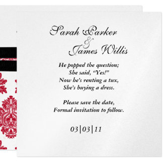 damask red & black metallic Save the date Card