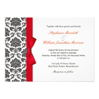 Damask Red Bow Wedding Invitation