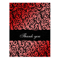 damask red chic  Thank You cards