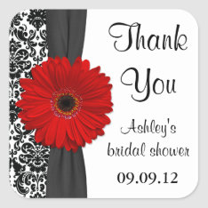 Damask Red Daisy Wedding Bridal Shower Thank You Square Sticker at Zazzle