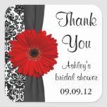 Damask Red Daisy Wedding Bridal Shower Thank You Square Stickers
