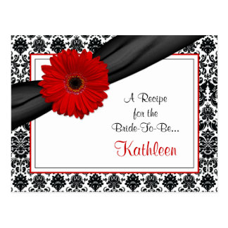 Damask Red Gerber Daisy Recipe Card for the Bride