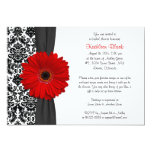 Damask Red Gerbera Daisy Recipe Bridal Shower 5x7 Paper Invitation Card