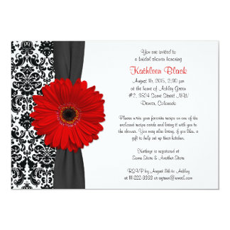 Damask Red Gerbera Daisy Recipe Bridal Shower Card