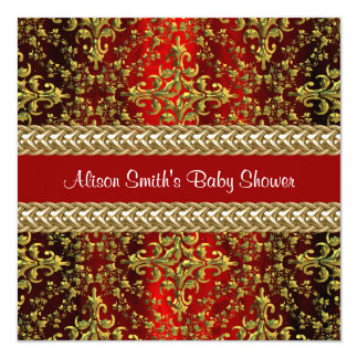Damask Red Gold, Gold Chain Baby Shower Invite