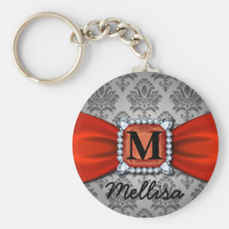 Damask Red Ribbon And Diamond Monogram And Name Keychain