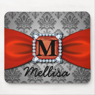 Damask Red Ribbon And Diamond Monogram And Name Mouse Pad