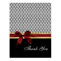 damask red  ribbon ThankYou Cards