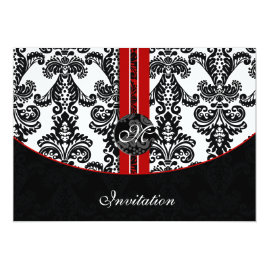 Black and Red Damask Wedding   Invitations