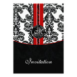damask red wedding invitation